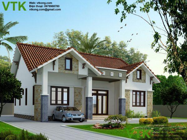 Thiết kế biệt thự 1 tầng mái thái tại Bắc Giang BT1T2