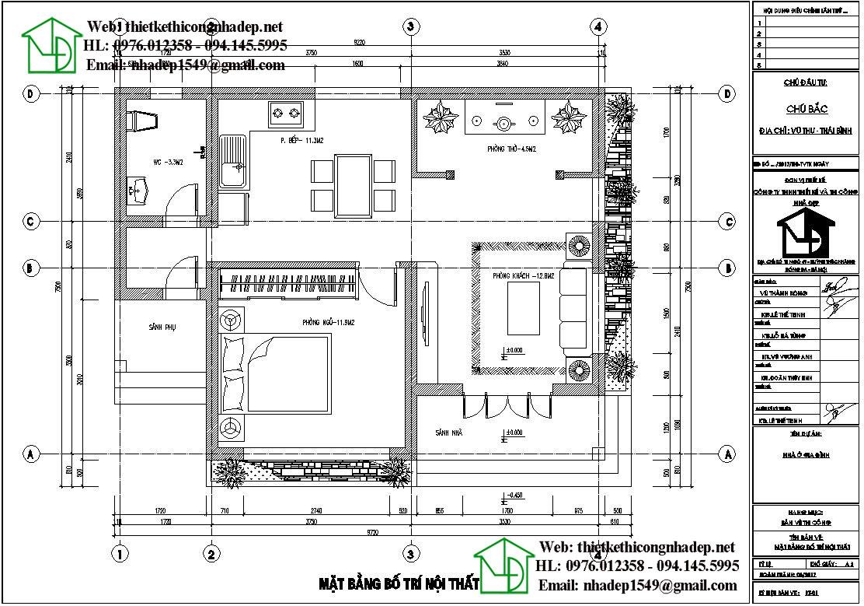 Mặt bằng bố trí nội thất nhà cấp 4 mái bằng NC43