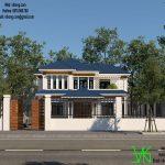 Thiết kế nhà mái thái 2 tầng đơn giản tại Hòa Bình BT2T1