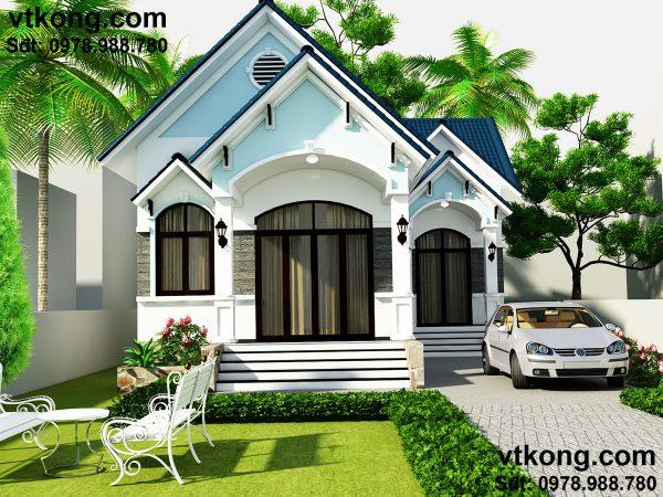 Bản thiết kế nhà 1 tầng đẹp BT1T10