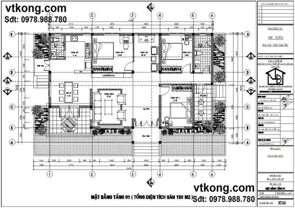 Mặt bằng bố trí nội thất biệt thự vườn 1 tầng BT1T8