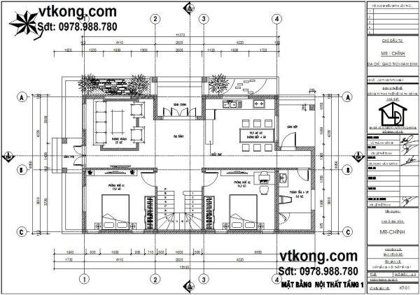 Mẫu thiết kế biệt thự nhà vườn 2 tầng 9x15m tại Nam Định BT2T4 1