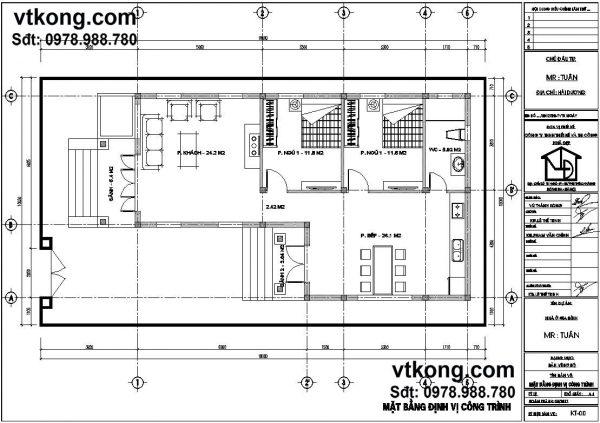 Mặt bằng nội thất bản thiết kế nhà 1 tầng đẹp BT1T10