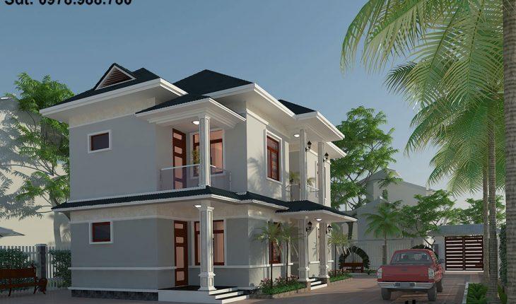 Mẫu thiết kế biệt thự nhà vườn 2 tầng BT2T4