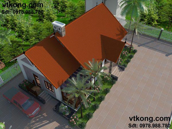 Phối cảnh tổng thể mẫu nhà đẹp mái thái 1 tầng BT1T8