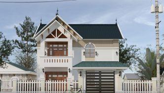 Thiết kế biệt thự 2 tầng mái dốc BT2T5