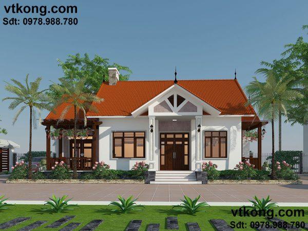 Thiết kế mẫu nhà đẹp mái thái 1 tầng BT1T8