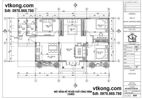 Mặt bằng bố trí nội thất biệt thư 1 tầng 3 phòng ngủ BT1T14