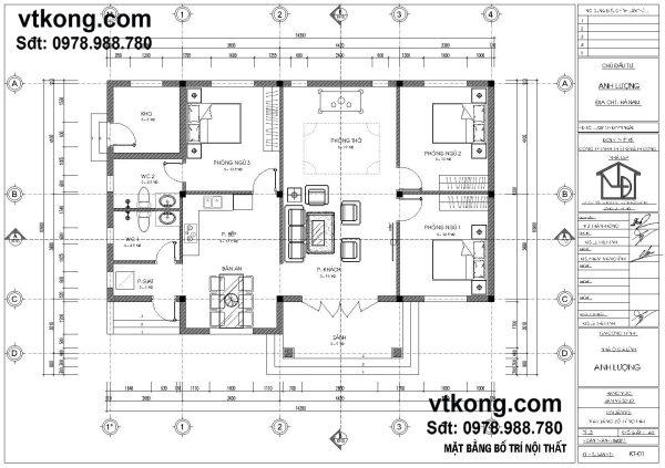 Mặt bằng bố trí nội thất biệt thự 1 tầng BT1T13
