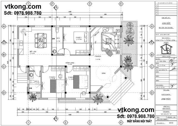 Mặt bằng bố trí nội thất mẫu nhà cấp 4 nông thôn hiện đại NC49