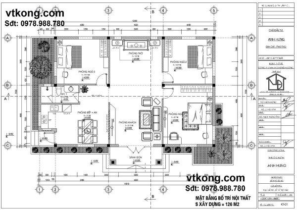 Mặt bằng bố trí nội thất nhà cấp 4 NC413