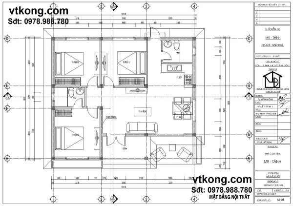 Mặt bằng nội thất nhà cấp 4 mái tôn NC47