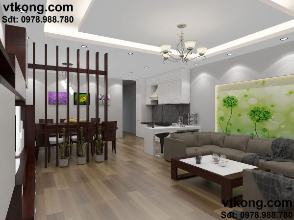 Thiết kế nội thất phòng khách nhà cấp 4 đẹp NC410