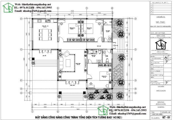 Mặt bằng nội thất biệt thự 1 tầng 3 phòng ngủ BT1T15Mặt bằng nội thất biệt thự 1 tầng 3 phòng ngủ BT1T15