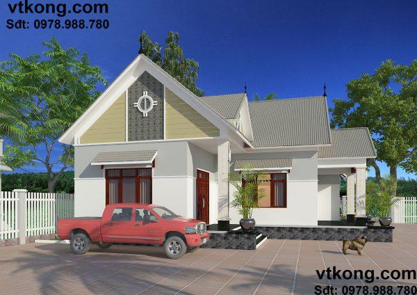 Thiết kế biệt thự vườn 1 tầng BT1T15