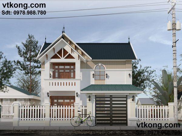 Mẫu nhà biệt thự 2 tầng mái dốc đơn giản tại Hà Tây