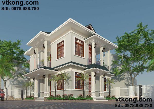 Mẫu nhà biệt thự 2 tầng mái dốc đơn giản tại Nam Định