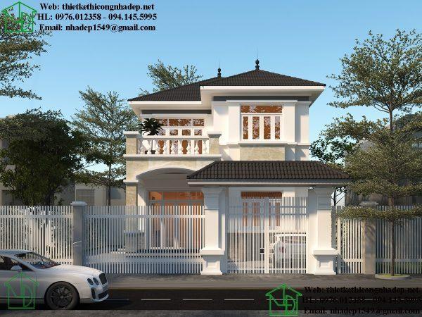 Mẫu nhà biệt thự 2 tầng mái dốc đơn giản tại Thái Bình