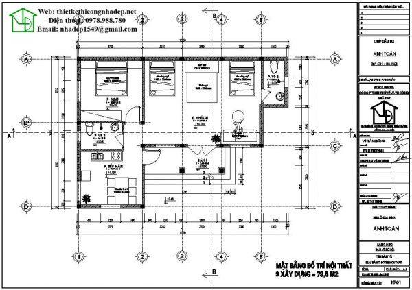 Mặt bằng mẫu nhà cấp 4 80 mét vuông