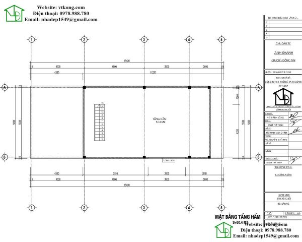 Mặt bằng tầng hầm mẫu nhà cấp 4 6x15m