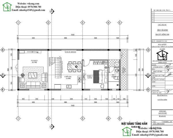 Mặt bằng tầng 1 mẫu nhà cấp 4 6x15m