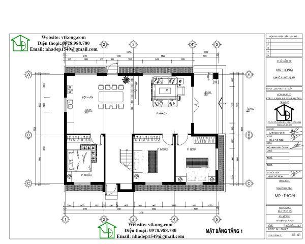 Mặt bằng biệt thự 2 tầng tại nghệ an 2