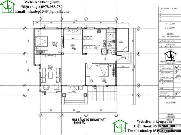 Mặt bằng nội thất biệt thự vườn 1 tầng 11x14m