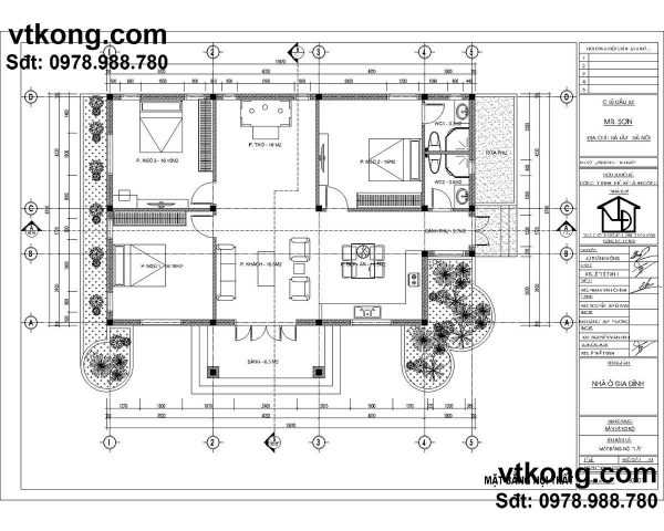 Mặt bằng biệt thự vườn 1 tầng 12x14m