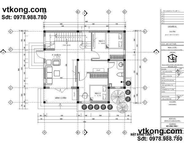 mẫu biệt thự 2 tầng 90m BT2T8