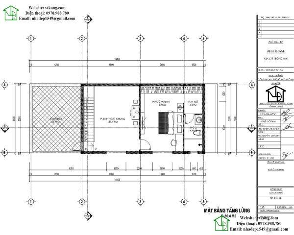 Mặt bằng tầng lửng mẫu nhà cấp 4 6x15m