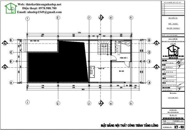 nhà cấp 4 gác lửng 7x18m mặt bằng