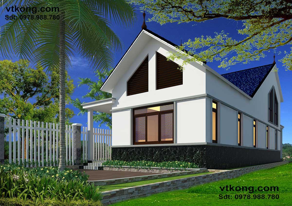Mẫu thiết kế nhà cấp 4 gác lửng 7x18m mái thái đẹp NC418
