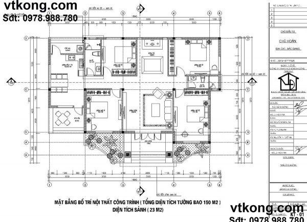 Mặt bằng nội thất mẫu biệt thự vườn 1 tầng 12x17m