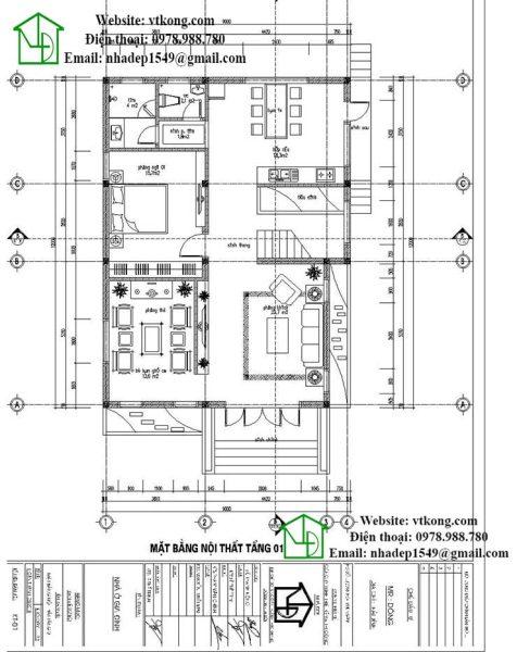Mặt bằng tầng 1 biệt thự 2 tầng 9x12m mái lệch