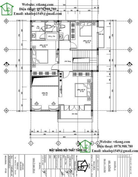 Mặt bằng tầng 2 biệt thự 2 tầng 9x12m mái lệch