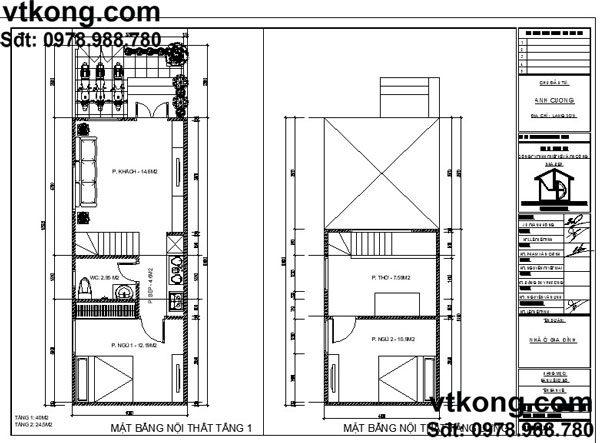 Mặt bằng thiết kế nội thât nhà cấp 4 mái bằng