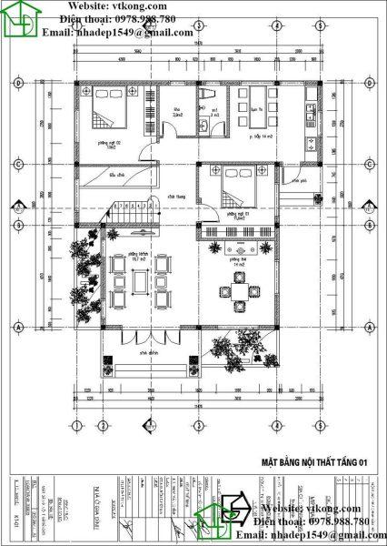 biệt thự 2 tầng 11x11m mái thái