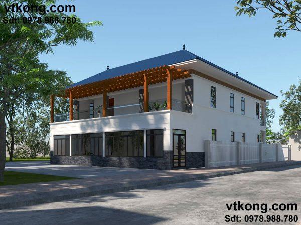 Biệt thự 2 tầng hình L BT2T11