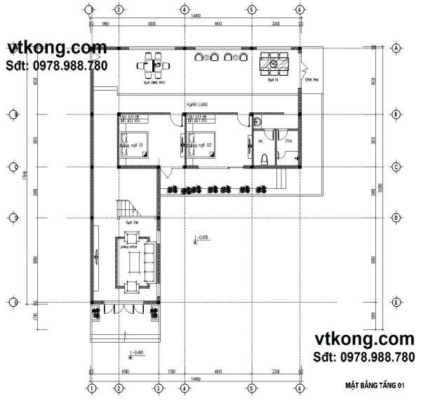 Mặt bằng nội thất tầng 1 BT2T11