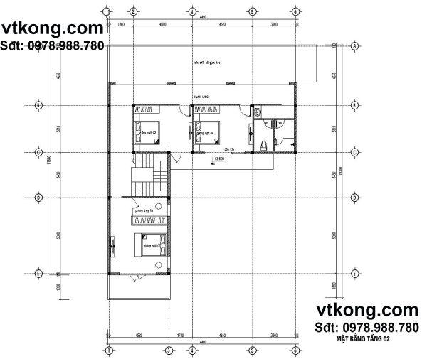 Mặt bằng nội thất tầng 2 BT2T11