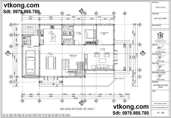 Mặt bằng tầng 1 mẫu biệt thự 2 tầng đẹp BT2T10