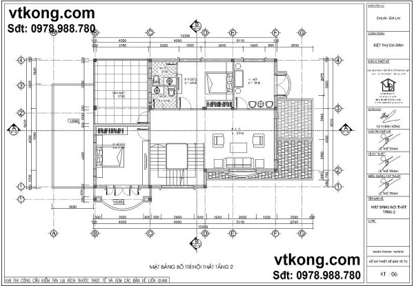 Mặt bằng tầng 2 mẫu biệt thự 2 tầng đẹp BT2T10