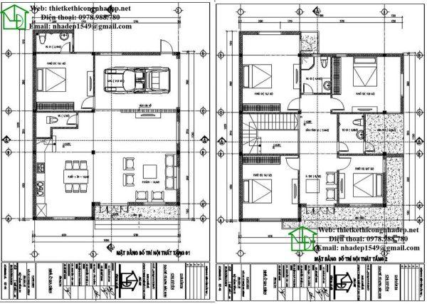 Mẫu biệt thự 2 tầng 5 phòng ngủ BT2T12