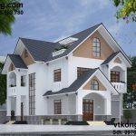 Mẫu biệt thự 2 tầng, mẫu bản vẽ biệt thự 2 tầng 10x16m BT2T10