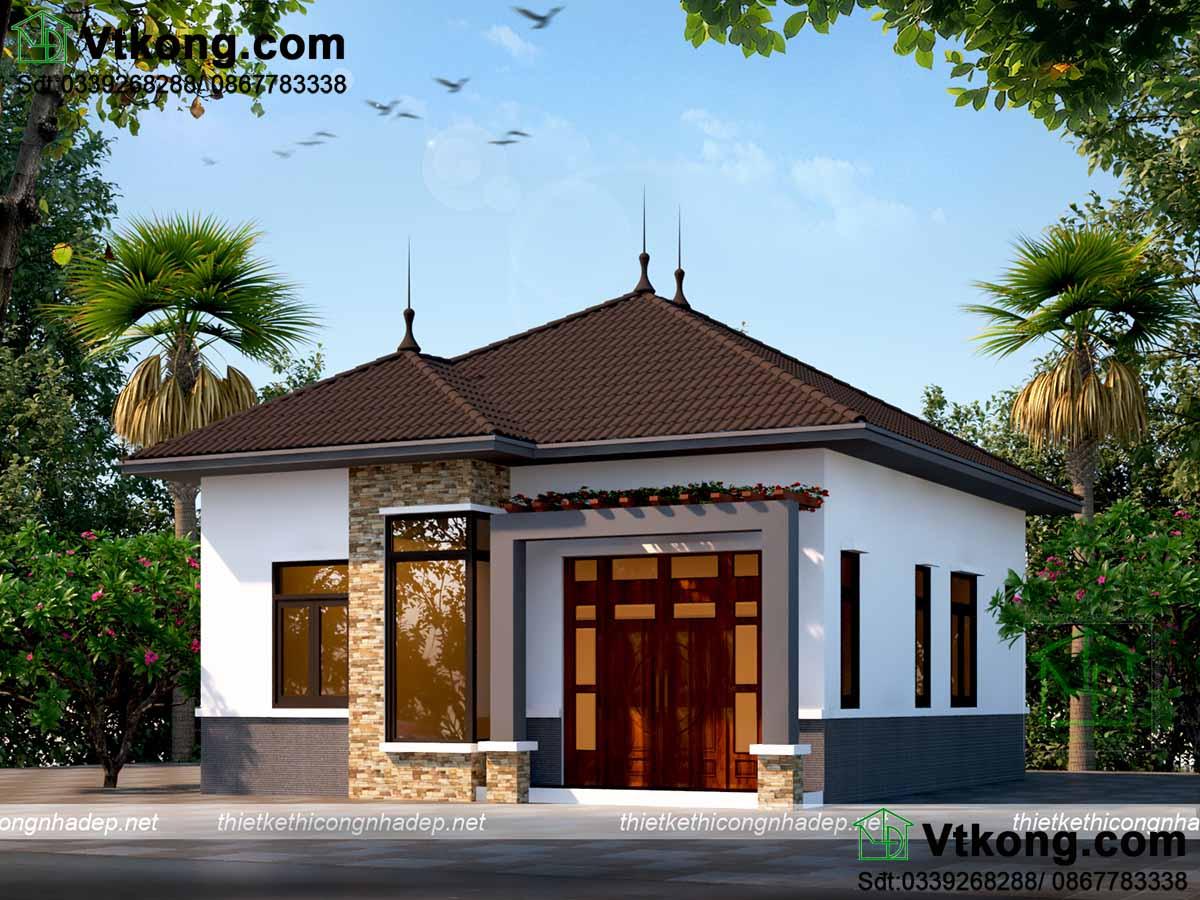 Mặt tiền đơn giản thiết kế theo kiến trúc hiện đại của mẫu nhà cấp 4 mái thái 8x9m