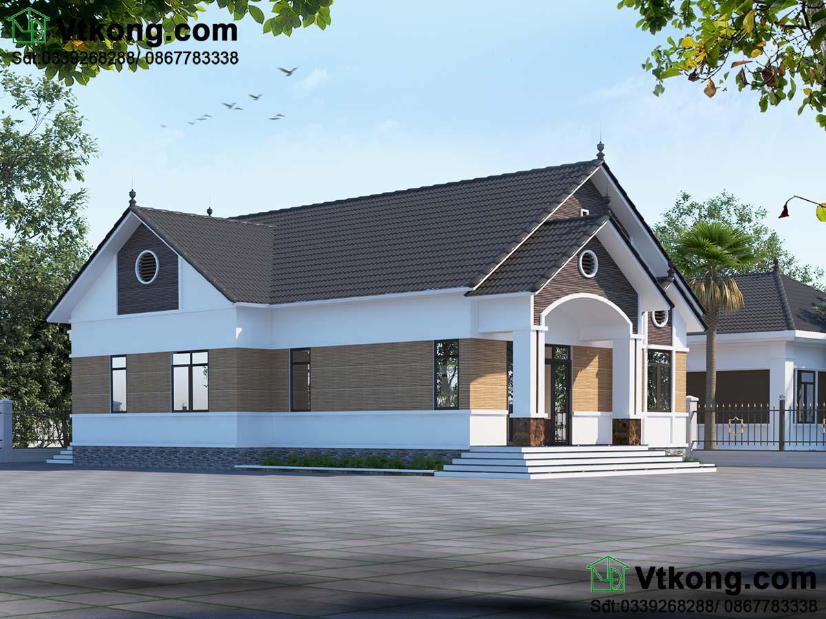 Phối cảnh thiết kế mẫu nhà cấp 4 4 phòng ngủ nông thôn thu hút và ấn tượng