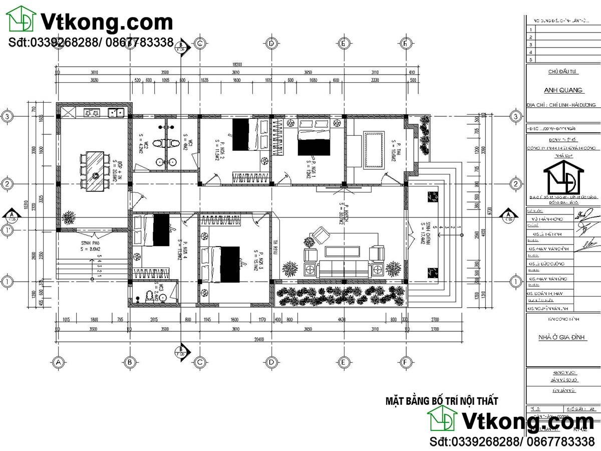 bản vẽ mặt bằng nội thất mẫu nhà cấp 4 4 phòng ngủ