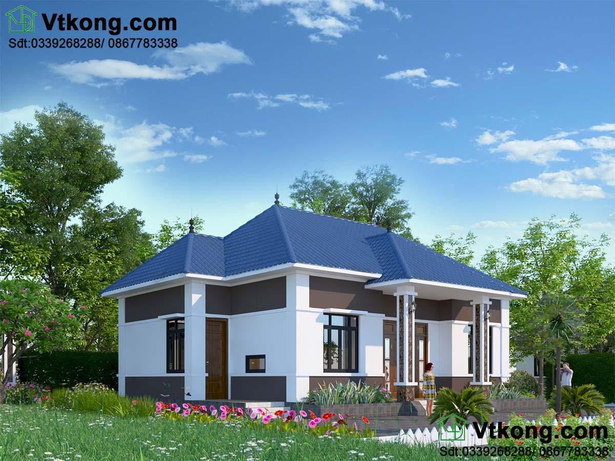 mẫu biệt thự vườn 1 tầng 11x13m của VTKONG