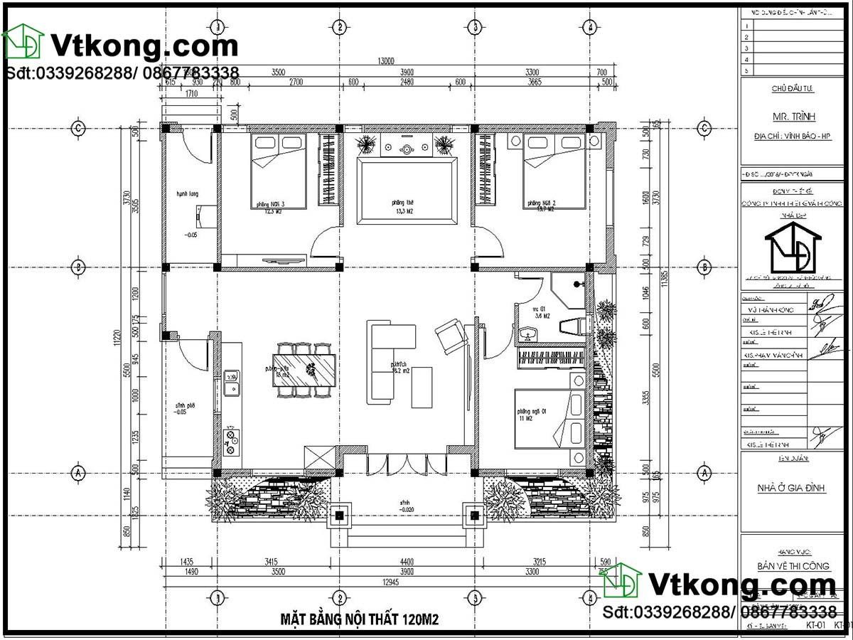 mặt bằng nội thất biệt thự vườn 1 tầng 11x13