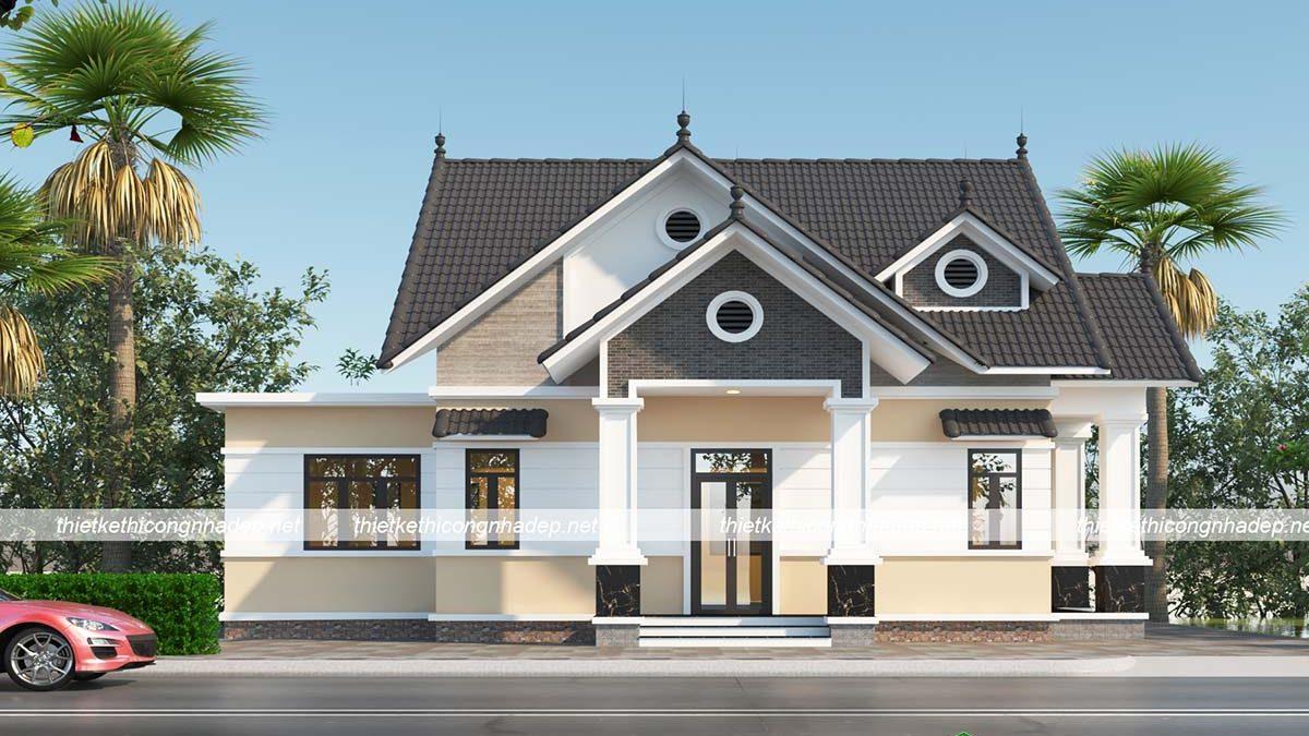 Tư vấn mẫu biệt thự 1 tầng 12x15m đẹp mái thái hiện đại BT1T42